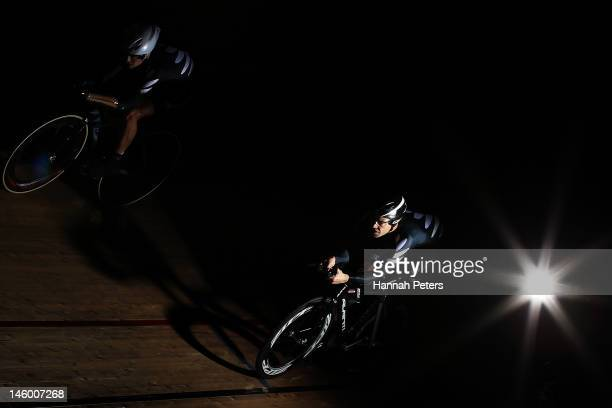 Chris Ross and Nathan Smith train during a New Zealand Paralympic Track Cycling Team Portrait Session on June 8 2012 in Invercargill New Zealand