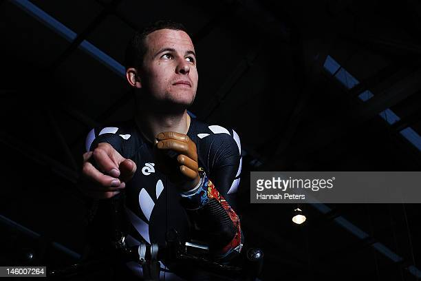 Chris Ross poses during a New Zealand Paralympic Track Cycling Team Portrait Session on June 8 2012 in Invercargill New Zealand