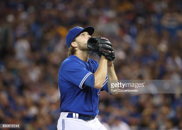 Chris Rowley of the Toronto Blue Jays reacts as he comes off the mound after getting the last out of the fourth inning during MLB game action against...