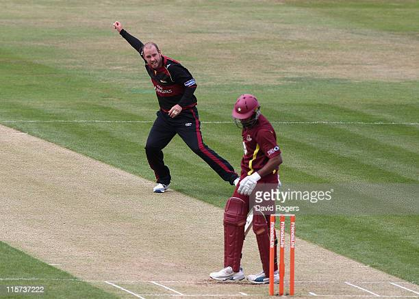 Chris Rushworth of Durham celebrates as he takes the wicket of Chaminda Vaas during the Friends Life T20 match between Northamptonshire and Durham at...