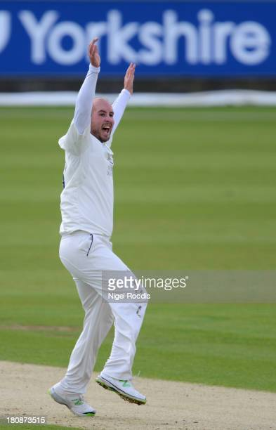 Chris Rushworth of Durham celebrates taking the wicket of James Taylor of Nottinghamshire during day one of the LV County Championship Division One...
