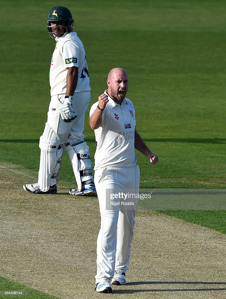 Chris Rushworth of Durham celebrates taking the wicket of Michael Lumb (unseen) of Nottinghamshire during the LV County Championship match between Durham and Nottinghamshire at The Riverside on August 31, 2014 in Chester-le-Street, England.
