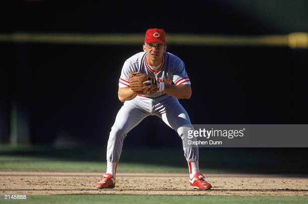 Chris Sabo of the Cincinnati Reds gets ready in the infield during a MLB game in the 1990 season
