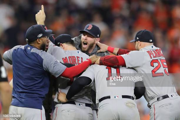 Chris Sale and the Boston Red Sox celebrate defeating the Houston Astros 41 in Game Five of the American League Championship Series to advance to the...