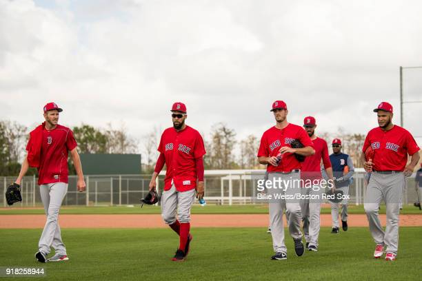 Chris Sale David Price Drew Pomeranz Rick Porcello and Eduardo Rodriguez of the Boston Red Sox walk off the field during a team workout on February...