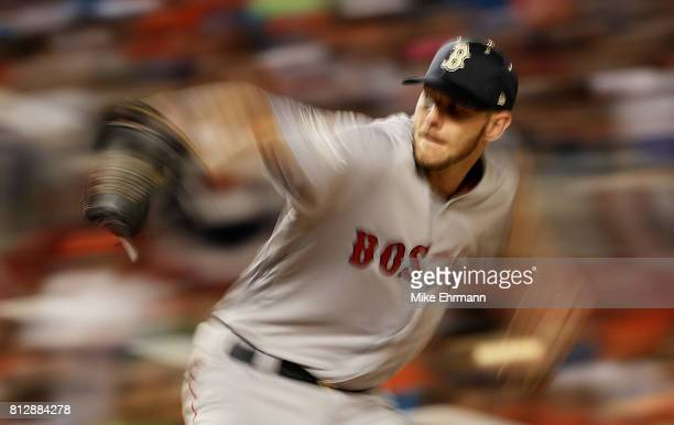 Chris Sale of the Boston Red Sox and the American League pitches in the second inning against the National League during the 88th MLB AllStar Game at...