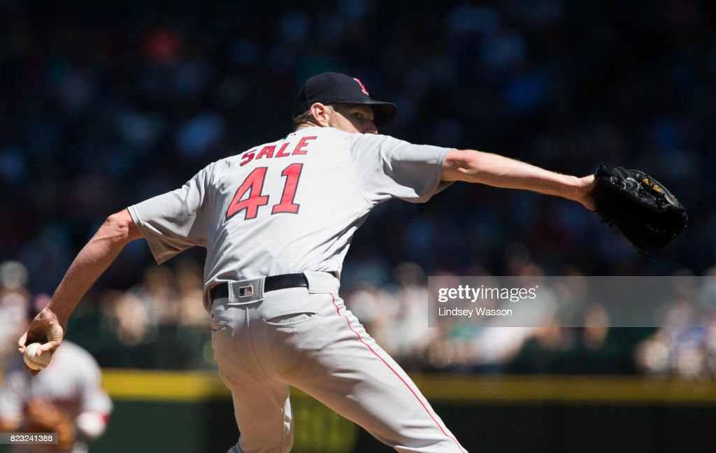 Chris Sale #41 of the Boston Red Sox delivers a pitch against the Seattle Mariners in the fifth inning at Safeco Field on July 26, 2017 in Seattle, Washington.