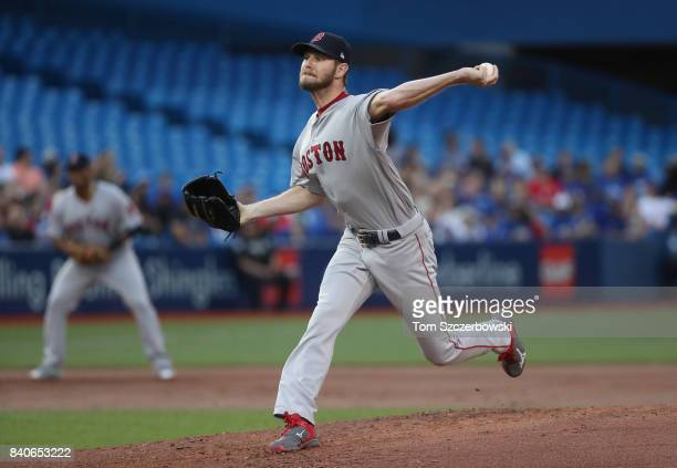 Chris Sale of the Boston Red Sox delivers a pitch in the first inning during MLB game action against the Toronto Blue Jays at Rogers Centre on August...