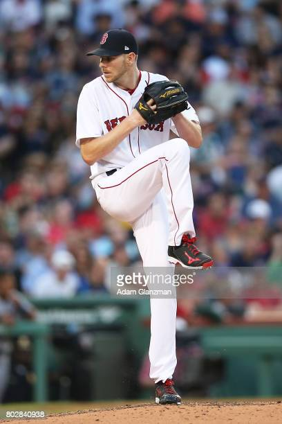 Chris Sale of the Boston Red Sox delivers during a game against the Minnesota Twins at Fenway Park on June 26 2017 in Boston Massachusetts
