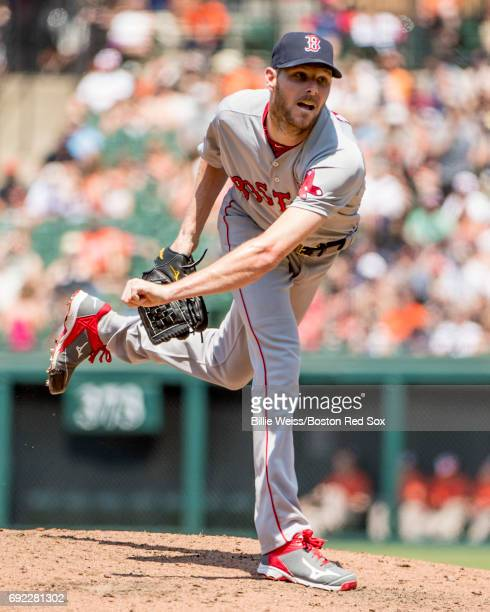 Chris Sale of the Boston Red Sox delivers during the second inning of a game against the Baltimore Orioles on June 4 2017 at Oriole Park at Camden...