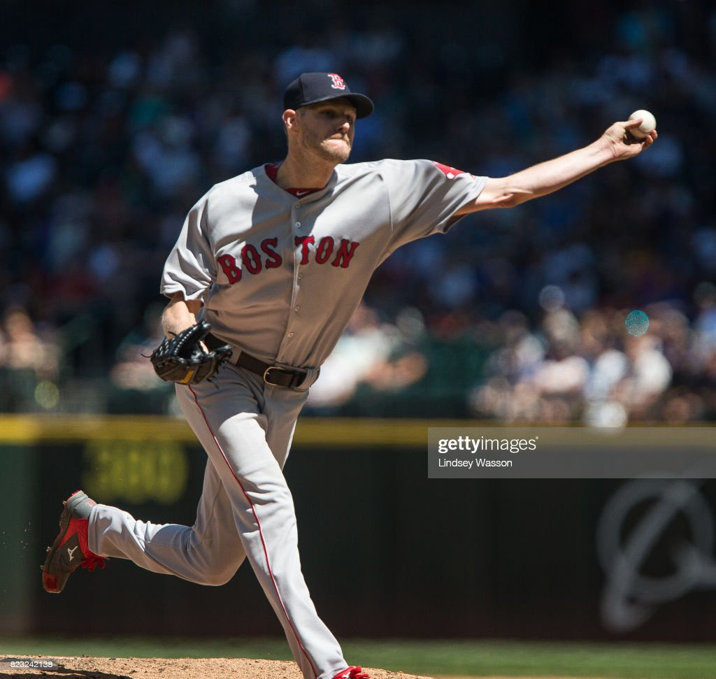 Chris Sale #41 of the Boston Red Sox delivers in the fifth inning against the Seattle Mariners at Safeco Field on July 26, 2017 in Seattle, Washington.