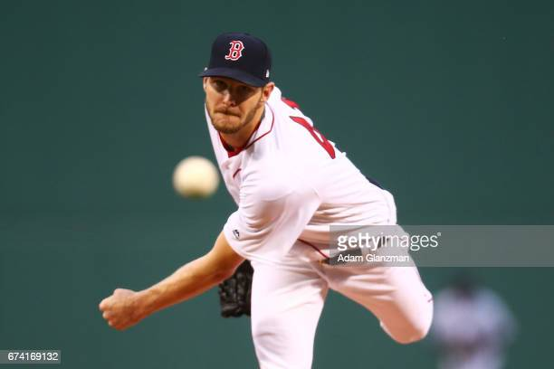 Chris Sale of the Boston Red Sox delivers in the first inning of a game against the New York Yankees at Fenway Park on April 27 2017 in Boston...