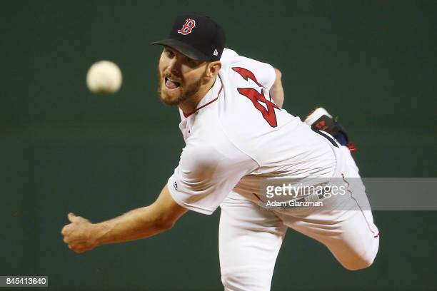 Chris Sale of the Boston Red Sox delivers in the first inning of a game against the Tampa Bay Rays at Fenway Park on September 9 2017 in Boston...