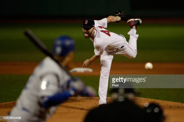 Chris Sale of the Boston Red Sox delivers the pitch during the first inning against the Los Angeles Dodgers in Game One of the 2018 World Series at...