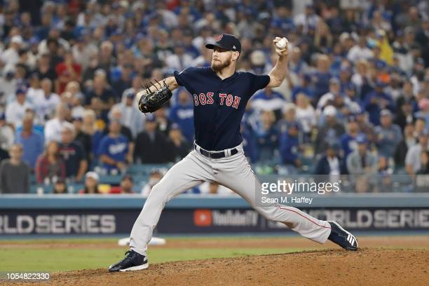 Chris Sale of the Boston Red Sox delivers the pitch during the ninth inning against the Los Angeles Dodgers in Game Five of the 2018 World Series at...