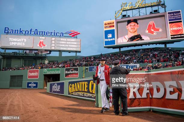 Chris Sale of the Boston Red Sox exits the bullpen before making his debut as a member of the Boston Red Sox against the Pittsburgh Pirates on April...