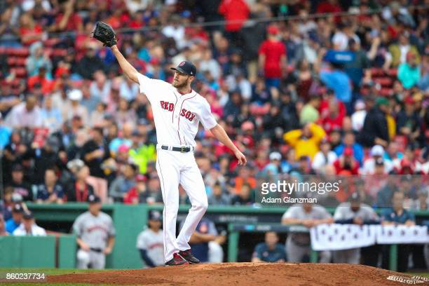 Chris Sale of the Boston Red Sox gestures during Game 4 of the American League Division Series against the Houston Astros at Fenway Park on October 9...