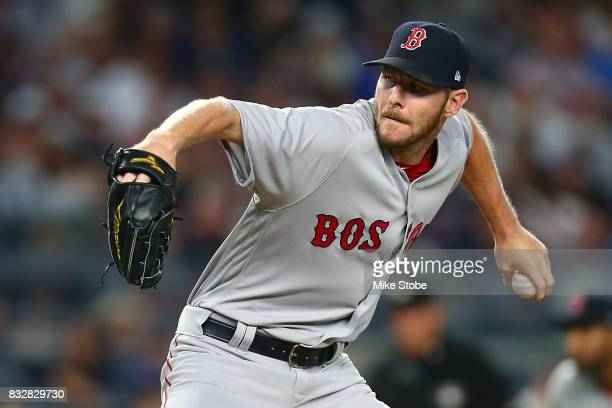 Chris Sale of the Boston Red Sox in action against the New York Yankees at Yankee Stadium on August 13 2017 in the Bronx borough of New York City...