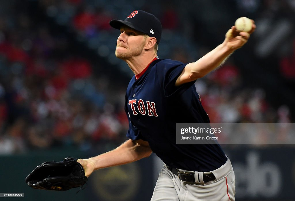 Chris Sale #41 of the Boston Red Sox in the fifth inning of the game against the Los Angeles Angels of Anaheim at Angel Stadium of Anaheim on July 21, 2017 in Anaheim, California.