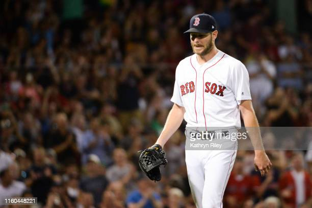 Chris Sale of the Boston Red Sox leaves the game after pitching eight shutout innings against the Los Angeles Angels of Anaheim at Fenway Park on...