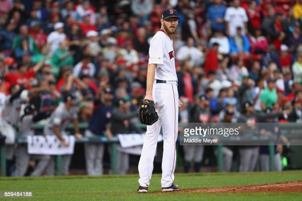 Chris Sale of the Boston Red Sox looks on in the eighth inning against the Houston Astros during game four of the American League Division Series at...