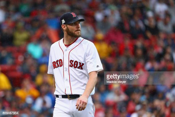 Chris Sale of the Boston Red Sox looks on in the fifth inning against the Houston Astros during game four of the American League Division Series at...