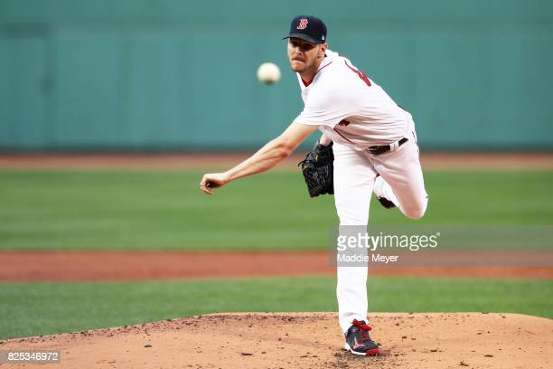 Chris Sale of the Boston Red Sox pitches against the Cleveland Indians during the first inning at Fenway Park on August 1 2017 in Boston Massachusetts