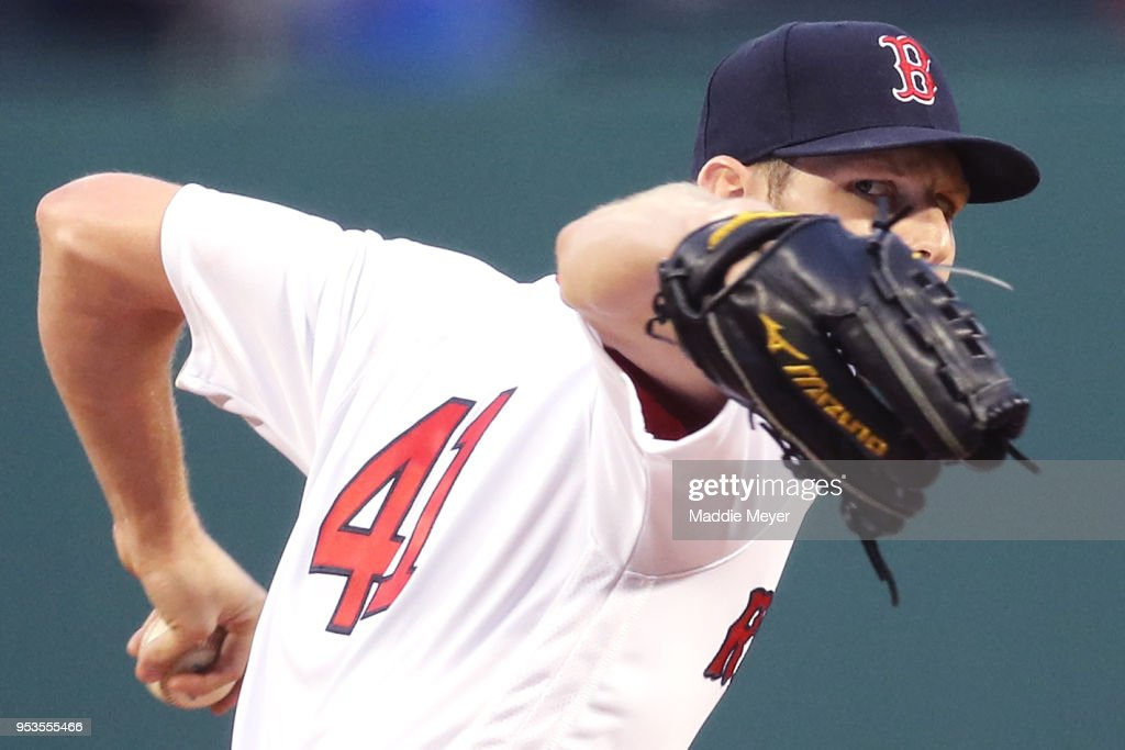 Chris Sale #41 of the Boston Red Sox pitches against the Kansas City Royals during the second inning at Fenway Park on May 1, 2018 in Boston, Massachusetts.