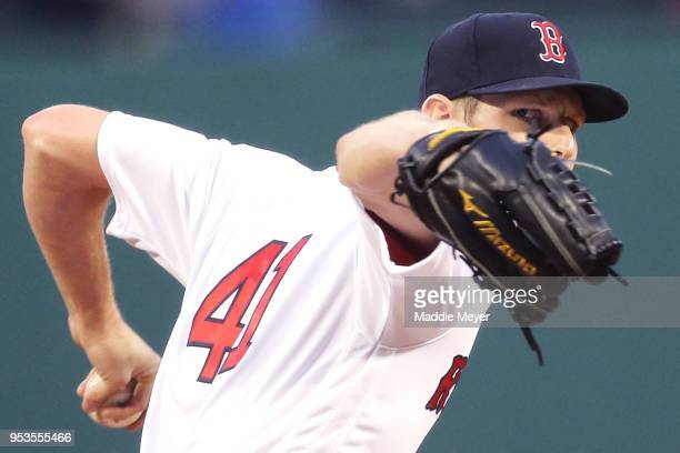 Chris Sale of the Boston Red Sox pitches against the Kansas City Royals during the second inning at Fenway Park on May 1 2018 in Boston Massachusetts