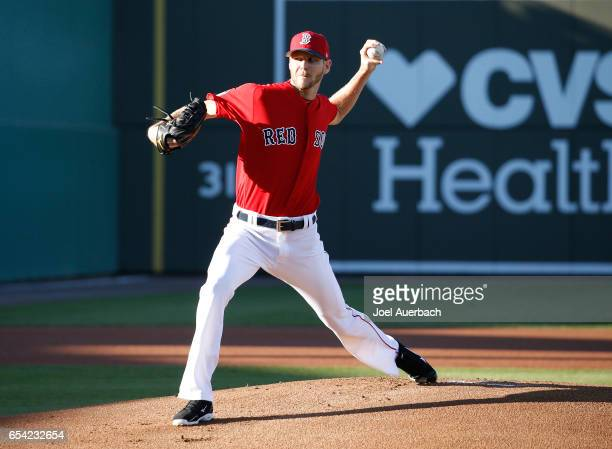 Chris Sale of the Boston Red Sox pitches against the Pittsburgh Pirates in the first inning during a spring training game at JetBlue Park on March 16...