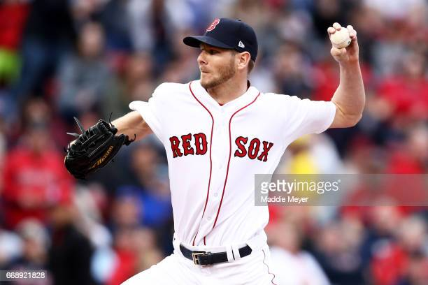 Chris Sale of the Boston Red Sox pitches against the Tampa Bay Rays during the seventh inning at Fenway Park on April 15 2017 in Boston Massachusetts...