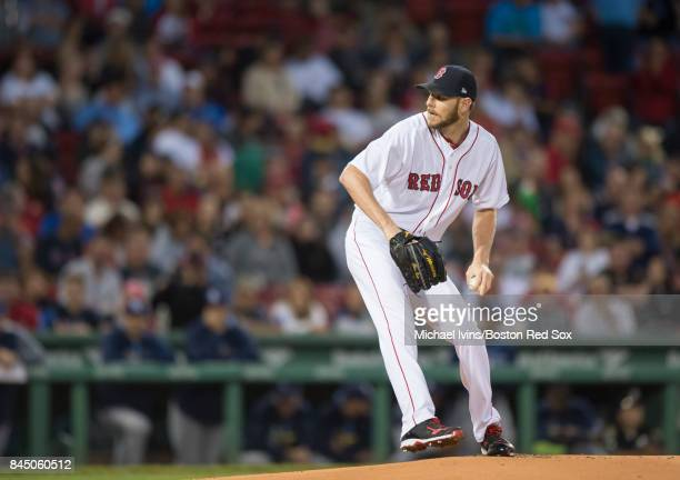 Chris Sale of the Boston Red Sox pitches against the Tampa Bay Rays in the first inning at Fenway Park on September 9 2017 in Boston Massachusetts