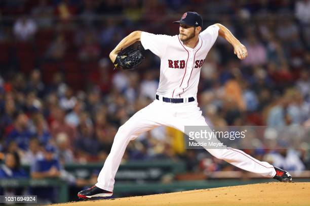 Chris Sale of the Boston Red Sox pitches against the Toronto Blue Jays during the first inning at Fenway Park on September 11 2018 in Boston...