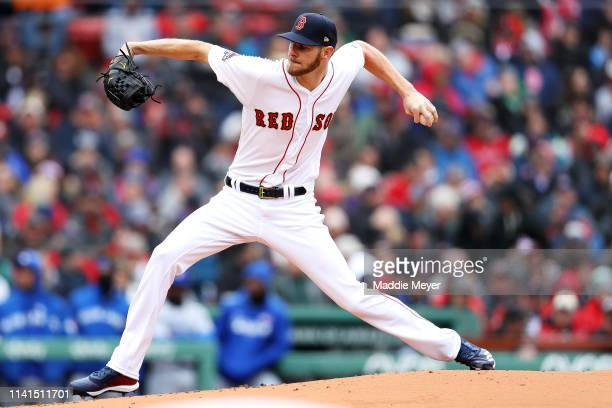 Chris Sale of the Boston Red Sox pitches against the Toronto Blue Jays during the Red Sox home opening game at Fenway Park on April 09 2019 in Boston...