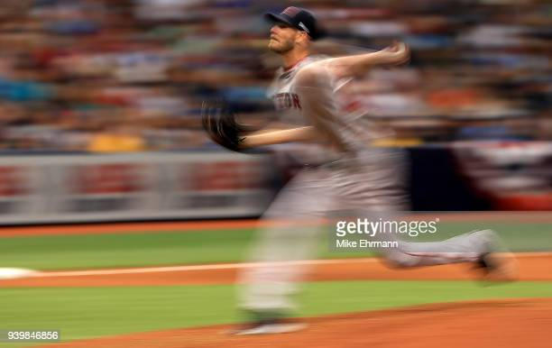 Chris Sale of the Boston Red Sox pitches during a game against the Tampa Bay Rays on Opening Day at Tropicana Field on March 29 2018 in St Petersburg...