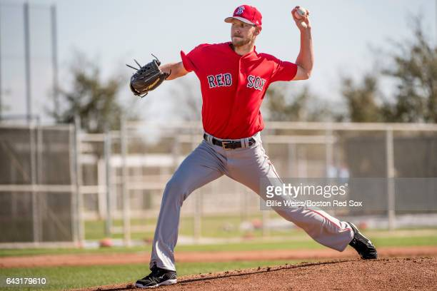 Chris Sale of the Boston Red Sox pitches during a team workout on February 20 2017 at Fenway South in Fort Myers Florida