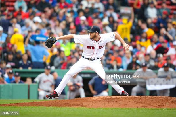 Chris Sale of the Boston Red Sox pitches during Game 4 of the American League Division Series against the Houston Astros at Fenway Park on October 9...
