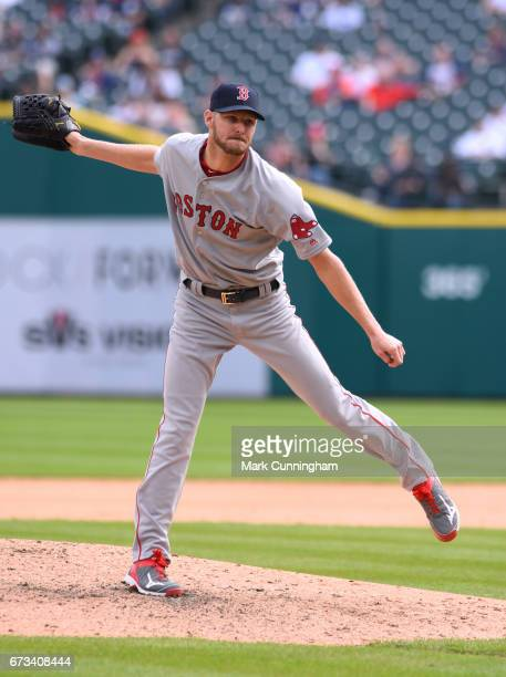 Chris Sale of the Boston Red Sox pitches during the game against the Detroit Tigers at Comerica Park on April 10 2017 in Detroit Michigan The Tigers...
