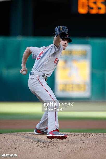 Chris Sale of the Boston Red Sox pitches during the game against the Oakland Athletics at the Oakland Alameda Coliseum on May 19 2017 in Oakland...