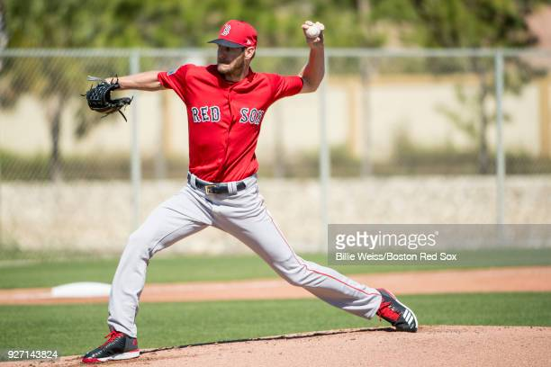 Chris Sale of the Boston Red Sox pitches in a simulated game during a team workout on March 4 2018 at Fenway South in Fort Myers Florida