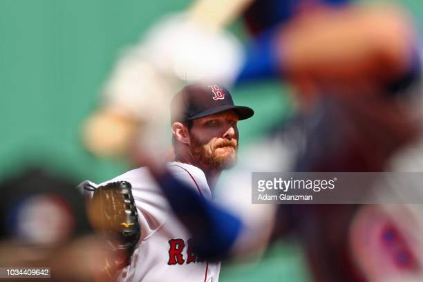 Chris Sale of the Boston Red Sox pitches in the first inning of a game against the New York Mets at Fenway Park on September 16 2018 in Boston...