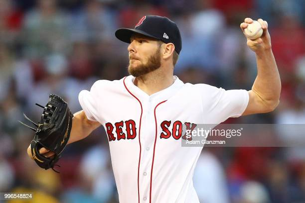 Chris Sale of the Boston Red Sox pitches in the third inning of a game against the Texas Rangers at Fenway Park on July 11 2018 in Boston...