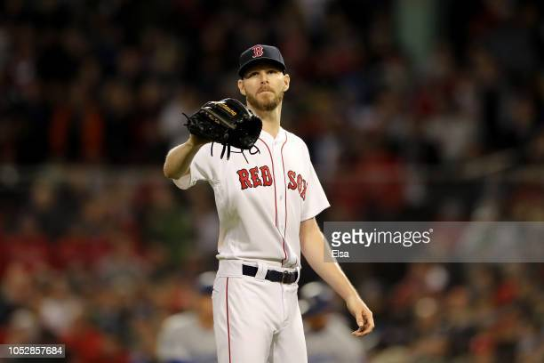 Chris Sale of the Boston Red Sox reacts against the Los Angeles Dodgers in Game One of the 2018 World Series at Fenway Park on October 23 2018 in...