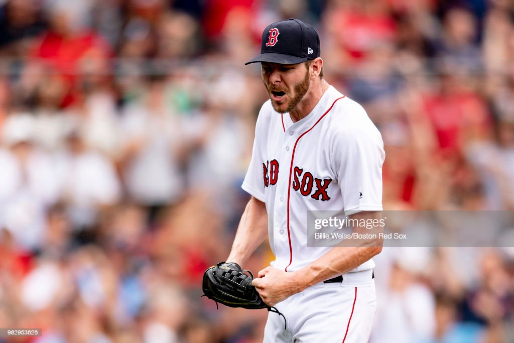 Chris Sale #41 of the Boston Red Sox reacts during the seventh inning of a game against the Seattle Mariners on June 24, 2018 at Fenway Park in Boston, Massachusetts.