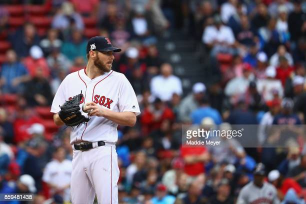 Chris Sale of the Boston Red Sox stands on the pitcher's mound in the sixth inning against the Houston Astros during game four of the American League...