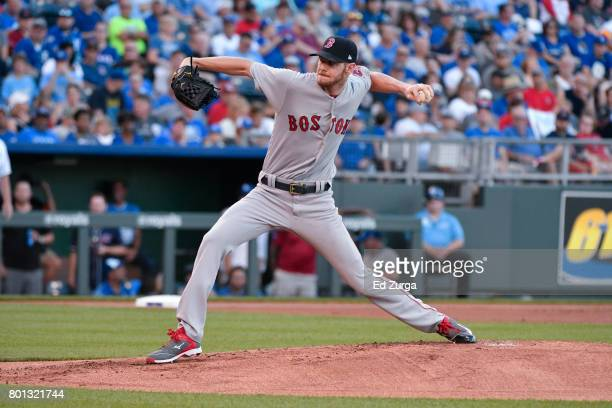 Chris Sale of the Boston Red Sox throws against the Kansas City Royals at Kauffman Stadium on June 20 2017 in Kansas City Missouri