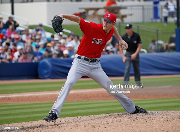 Chris Sale of the Boston Red Sox throws the ball against the Houston Astros in the second inning during a spring training game at The Ballpark of the...
