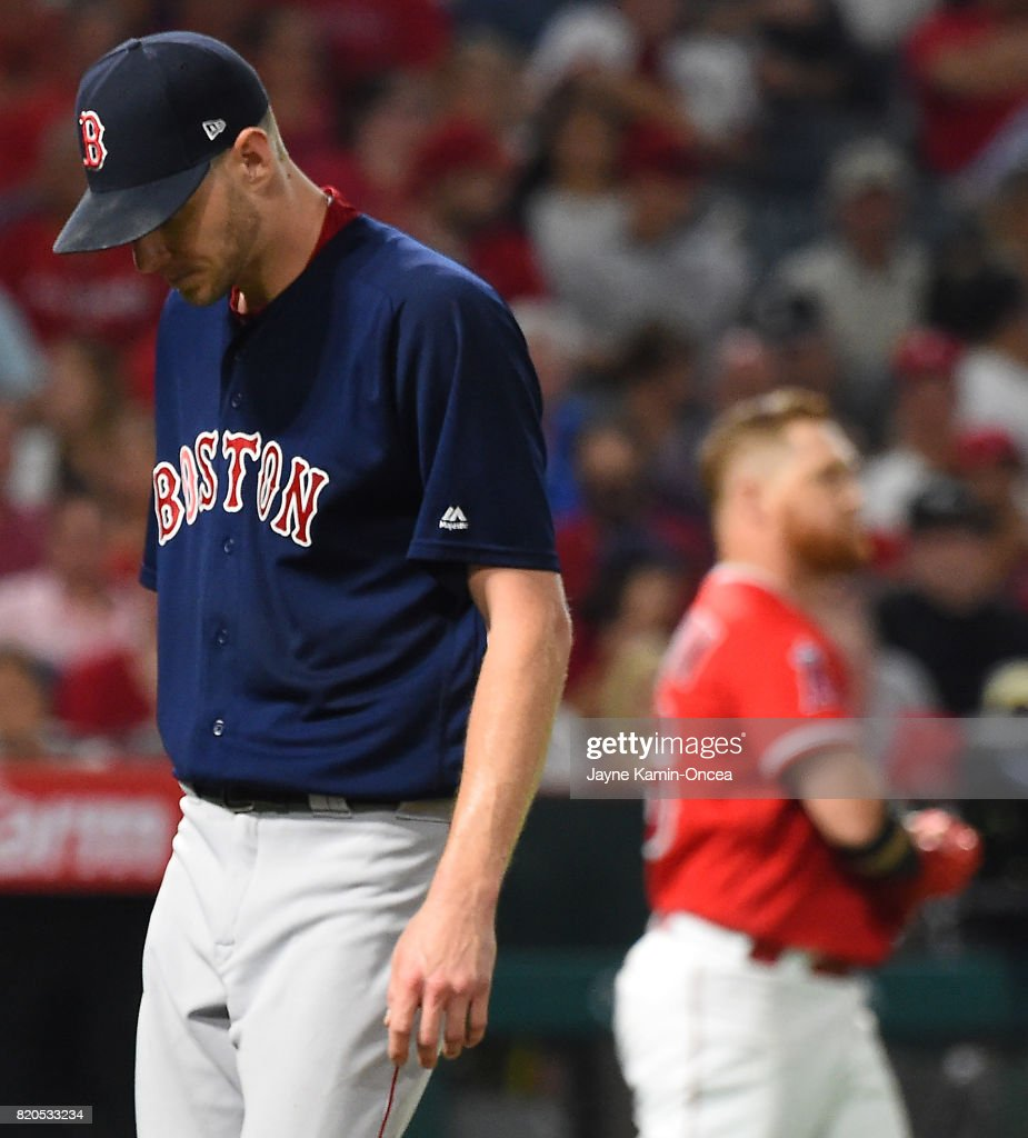 Chris Sale #41 of the Boston Red Sox walks back to the dugout after striking out Kole Calhoun #56 of the Los Angeles Angels of Anaheim for a scoreless sixth inning in the game at Angel Stadium of Anaheim on July 21, 2017 in Anaheim, California.