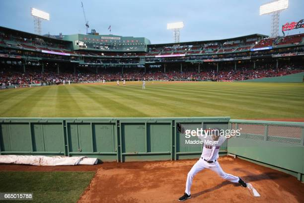 Chris Sale of the Boston Red Sox warms up before the game against the Pittsburgh Pirates at Fenway Park on April 5 2017 in Boston Massachusetts