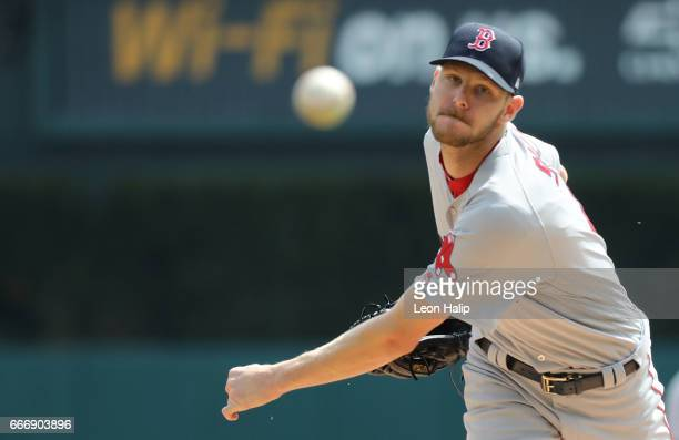 Chris Sale of the Boston Red Sox warms up prior to the start of the game against the Detroit Tigers on April 10 2017 at Comerica Park in Detroit...